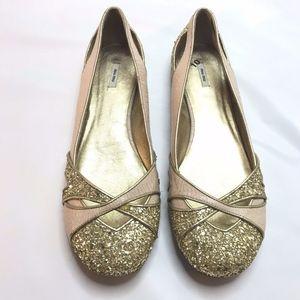 Miu Miu Prada Gold Glitter Ballet Flats Shoes